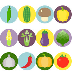 vegetables flat icons set 2 vector image vector image