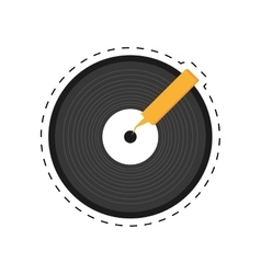 Vinyl record lp dotted line vector
