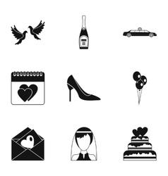 Wedding celebration icons set simple style vector