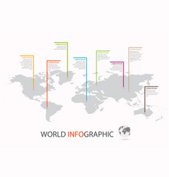 world infographic template world map with marker vector image vector image