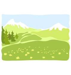 Meadow in a mountain valley vector