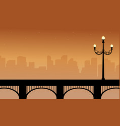 Silhouette of bridge beauty landscape with street vector