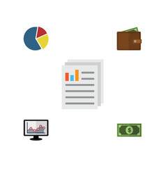 flat exchequer set of document billfold graph vector image