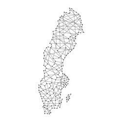 Map of sweden from polygonal black lines and dots vector
