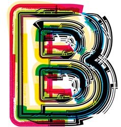 Colorful Grunge font LETTER B vector image