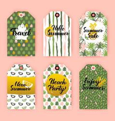 Hello summer gift labels vector