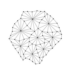Tristan da cunha map of polygonal mosaic lines net vector