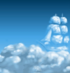 Cloudscape with ship vector