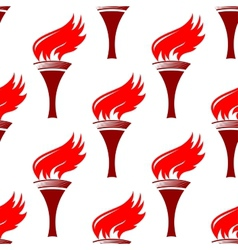 Flaming torches seamless background pattern vector image