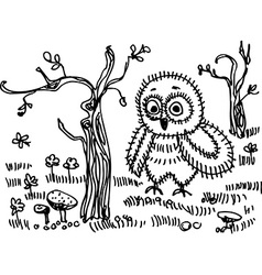 Owl trees grass mushrooms black contour on a white vector