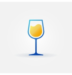 Blue glass of white wine icon vector