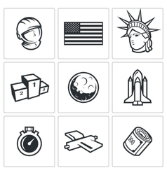 Usa and moon icons vector