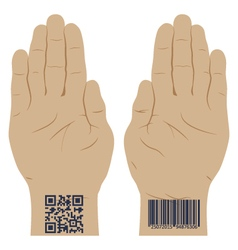 Hand with a bar code vector