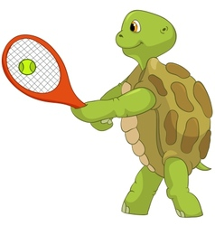 Funny turtle tennis player vector