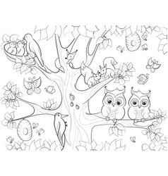 Animals and birds living on the tree coloring for vector