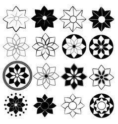 black and white flower pack vector image vector image