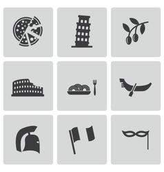 Black italian icons set vector