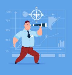 business man with binoculars successful future vector image