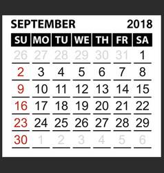Calendar sheet september 2018 vector