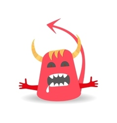Cartoon cute devil monster on white background vector