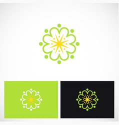 Circle geometry beauty flower logo vector