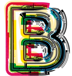 Colorful Grunge font LETTER B vector image vector image