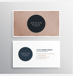 Company business card in brown line pattern vector