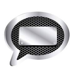 Dialog callout with metallic frame grill vector