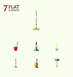 Flat icon cleaner set of besom broom broomstick vector