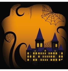 Halloween background border with castle vector