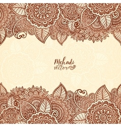 Henna tattoo colors indian style floral frame vector