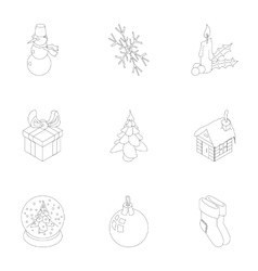 New year icons set outline style vector
