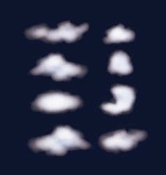 Nightly background sky with set of clouds vector
