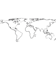 Outline of map of world on white background vector image vector image