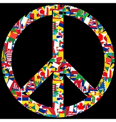 Peace symbol with world flags vector image vector image