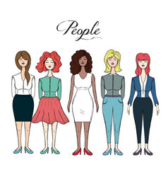 Pretty women with hairstyle and different wear vector