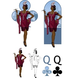 Queen of clubs afroamerican starlet Mafia card set vector image vector image