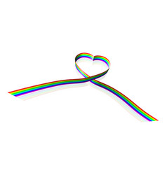 rainbow coloured heart shape ribbon vector image