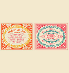 Retro cards set with engraving and floral detail vector