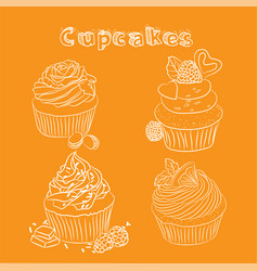 scetch cupcake orange background vector image vector image