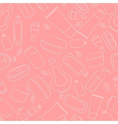 Seamless doodle cosmetics vector image