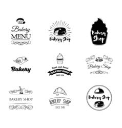 Set of bakery labels and badges cake cupcake vector