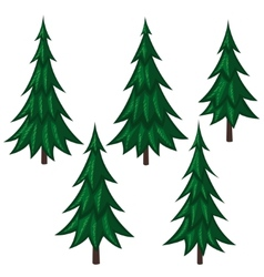 Set of cartoon fir trees vector image