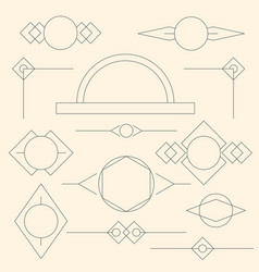 set of grey linear graphic stylized frames vector image