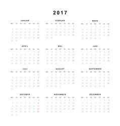 Simple modern calendar 2017 in german vector