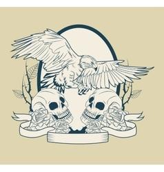 Skull and eagle tattoo art design vector