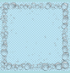 water bubbles square frame transparent vector image vector image