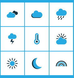 Weather colored icons set collection of night vector