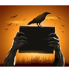 Zombie hands holding sign with blank card as a vector image vector image