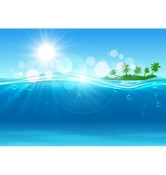 Tropical island in the ocean for background design vector